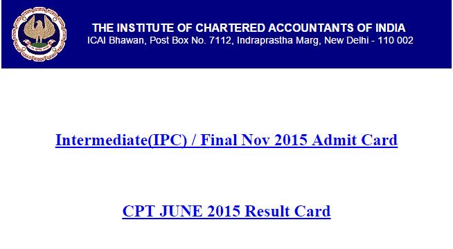 CA IPCC CA Final Admit Card November 2015