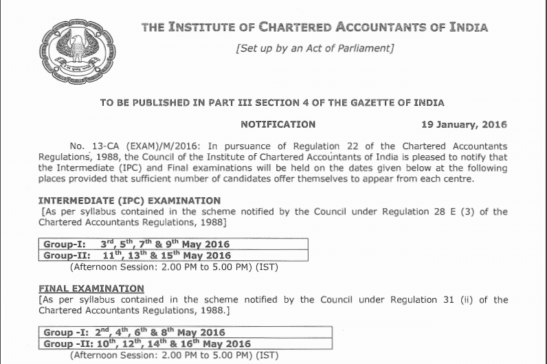 CA IPCC & Final Datesheet May 2016
