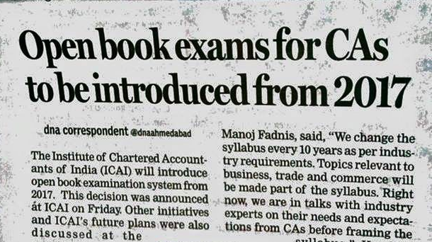 Open Book Exams For CA's to be Introduced in 2017