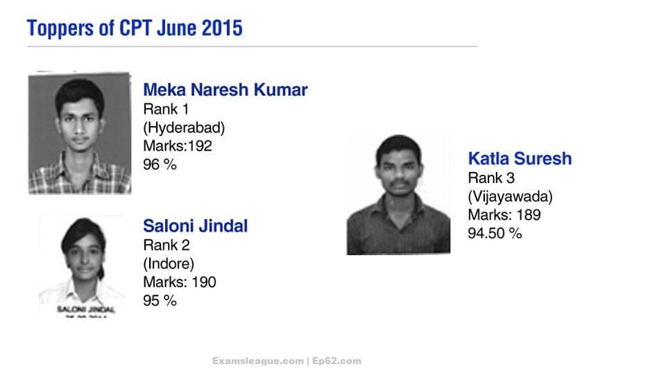 CA CPT TOPPERS MAY 2015 EXAMS