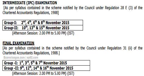 CA IPCC & FINAL EXAMS DATE SHEET NOVEMBER 2015