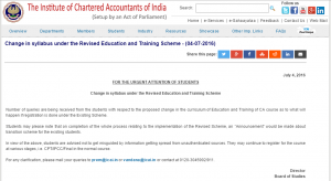 CA Course : Revised Scheme of Education and Training