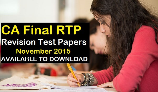 CA Final RTP - Revision Test Papers November 2015