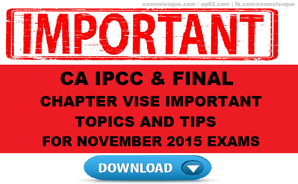 CA IPCC & FINAL CHAPTER VISE IMPORTANT TOPICS AND TIPS. CA FINAL FR QUESTION PAPER SOLUTION NOVEMBER 2015