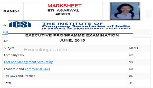 CS Executive June 2015 Rank Holders Marksheets