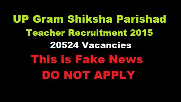 UP Gram Shiksha Parishad Teacher Recruitment 2015