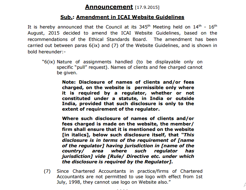 icai website guidelines announcement