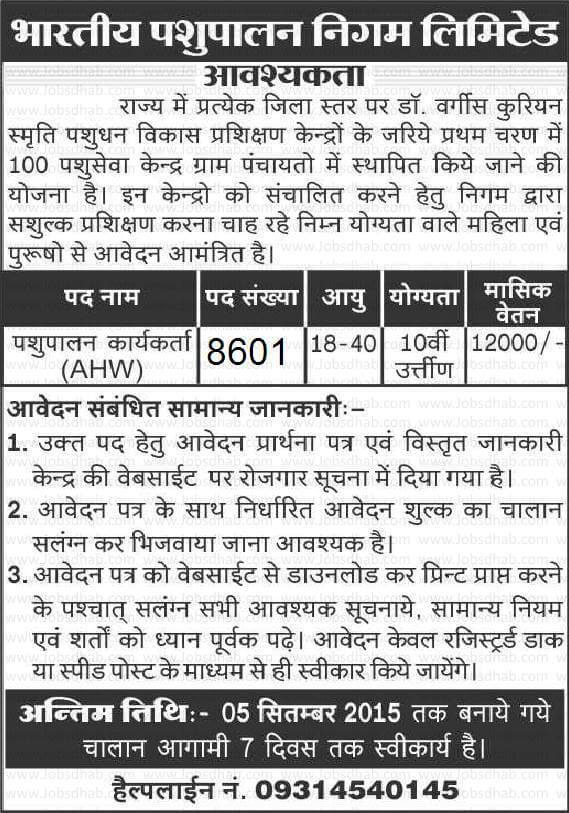 8601 Post in Bhartiya Pashupalan Nigam Recruitment 2015