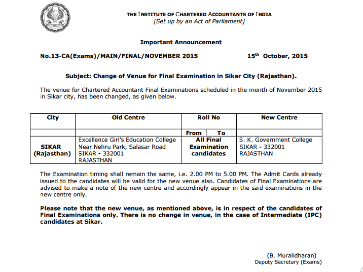 1 Change in Venue For CA Examinations November 2015