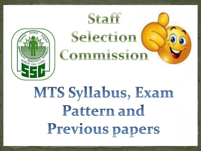 SSC MTS Exam Pattern Syllabus 2015 2016 Download