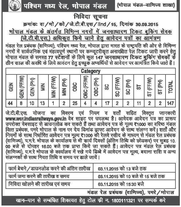 West Central Railway Recruitment 2015 147 Posts Ticket Booking Sewak