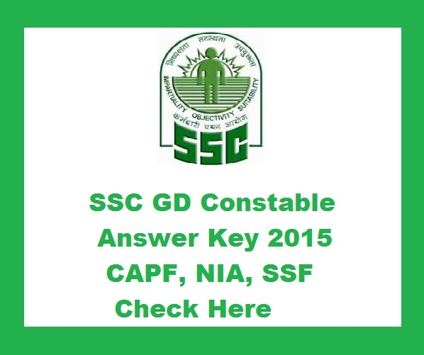 SSC Constable GD Answer key 2015