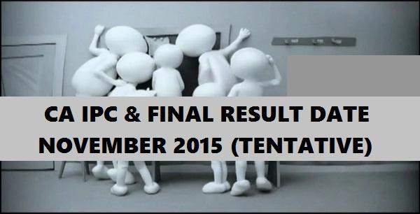 CA IPC Final Result Date November 2015 Exams