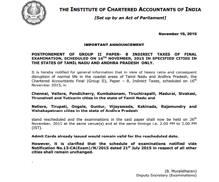 Indirect Tax IDT Exam Postponed