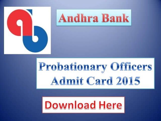 Andhra Bank PO Admit Card 2015