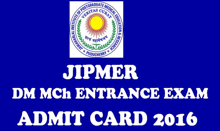 JIPMER Entrance Exam Admit Card 2016