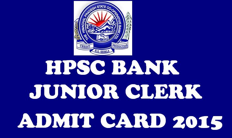 HPSCB Kanisth Lipik Junior Clerk Admit Card 2015