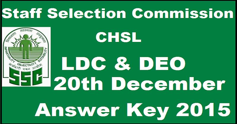 SSC CHSL LDC DEO Exam Answer Key 2015