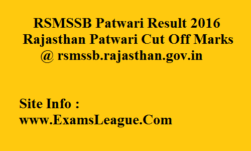 RSMSSB Patwari Mains Result 2016 Patwari Cut Off Merit List @ rsmssb.rajasthan.gov.in