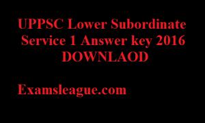 UPSSSC Lower Subordinate Answer Key 2016