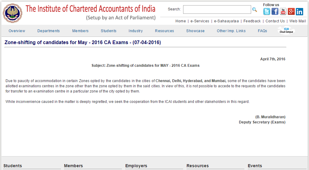 CA Exams Zone Shifting For Candidates May 2016