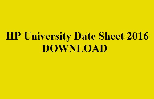 HP University Date Sheet 2016