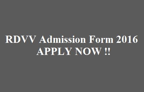 RDVV Admission Form 2016