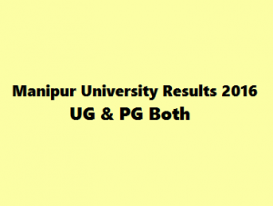 Manipur University Exam Results 2016