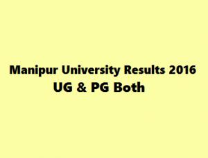 Manipur University Exam Results 2016