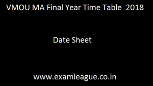 VMOU MA Final Year Time Table
