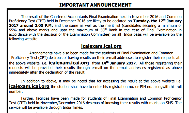 ICAI CA FInal Result Nov 2016 Exam