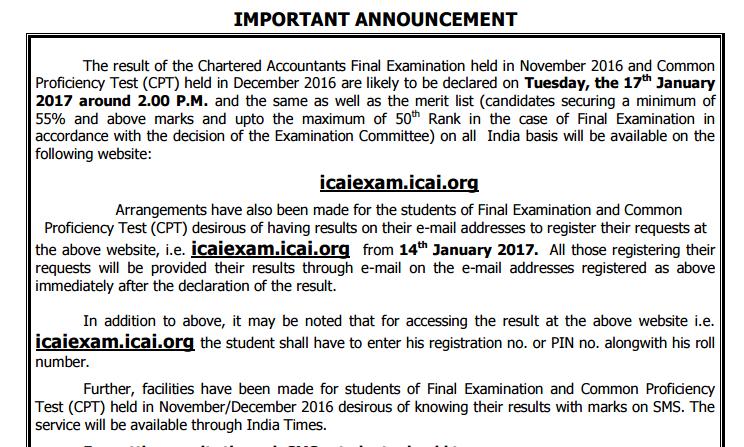 ICAI CA FInal Result Nov 2016 Exam