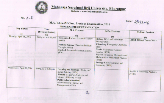 Brij University MA MCom MSc Revised Time Table 2017