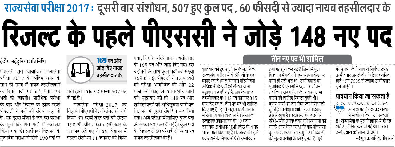 MPPSC Pre Result 2017   Madhya Pradesh MPPSC Prelims Cutoff marks 2017 (State/Forest Services)
