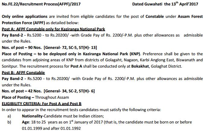 Assam Forest AFPF Constable Recruitment 2017 | Assam Forest AFPF Constable Result 2017 Merit List & Cutoff Marks @assamforest.in