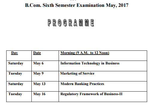 Gauhati University Exam Routine B.Com 6th Sem May 2017