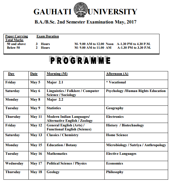 Gauhati University Exam Routine April & May 2017