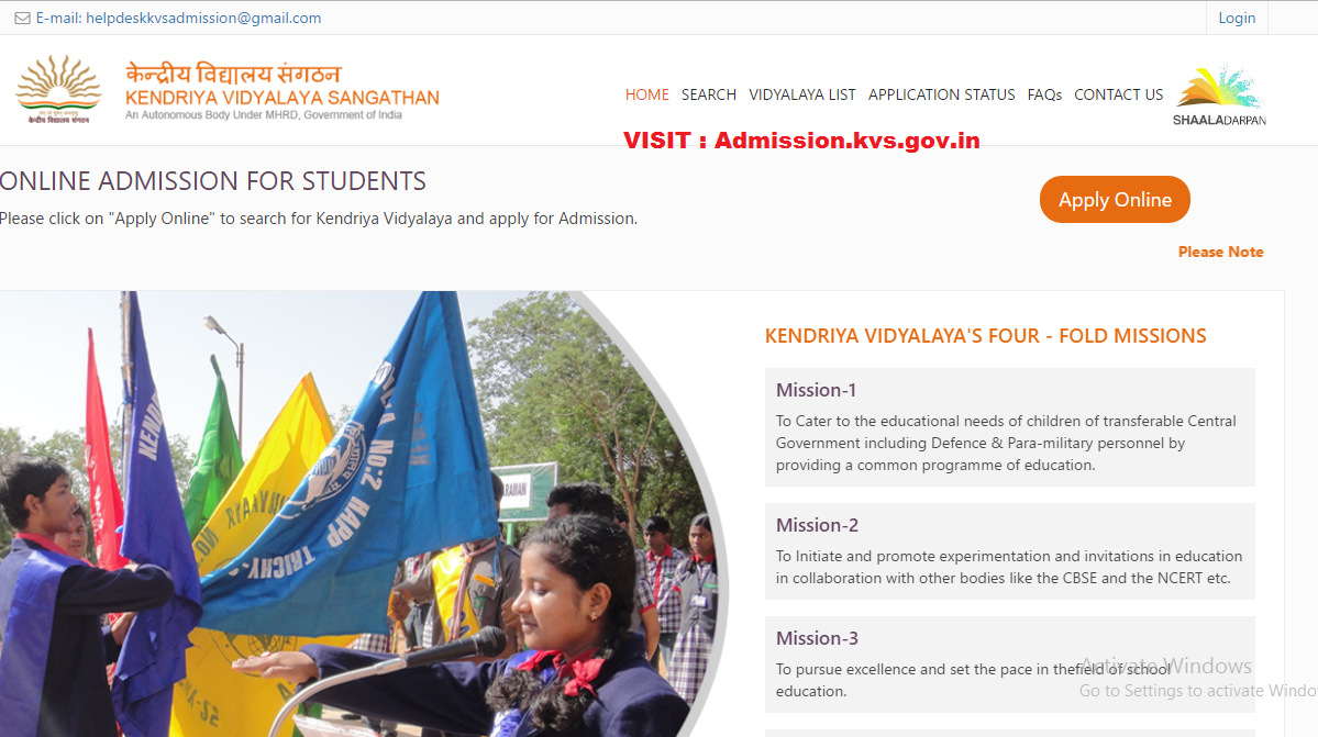 KVS Admission 2017 - 2018 Click the Apply Online Button