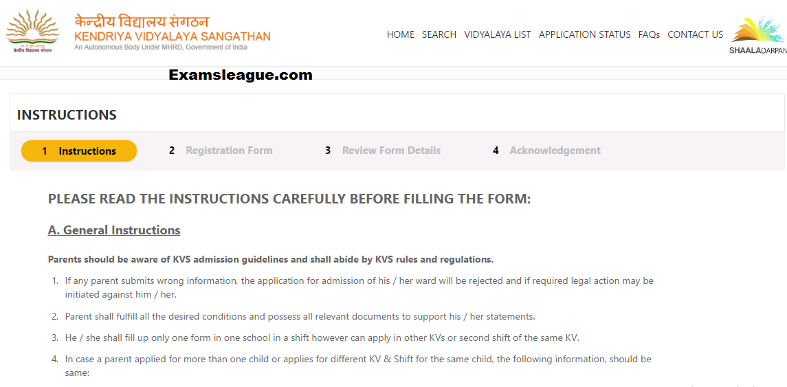KVS Application Form 2017 Regisration Details