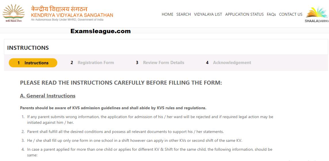 KVS Application Form 2017 Regisration Details