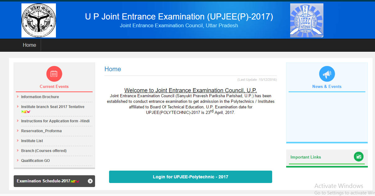 UP Polytechnic Result 2017 JEECUP Cutoff Marks Merit List @ jeecup.nic.in