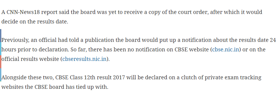 CBSE 12th Result 2017 School Wise Result