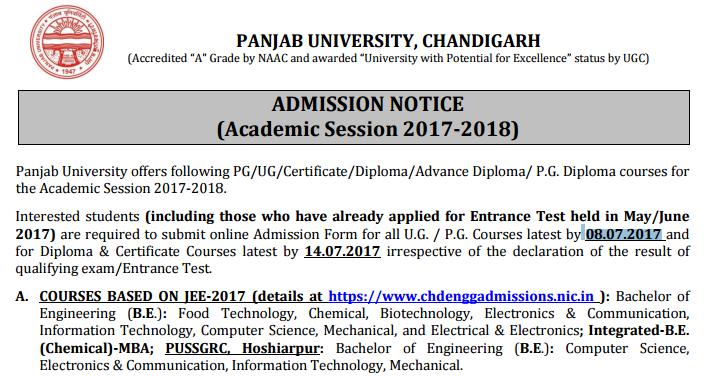 Panjab University Admission Form 2017-18