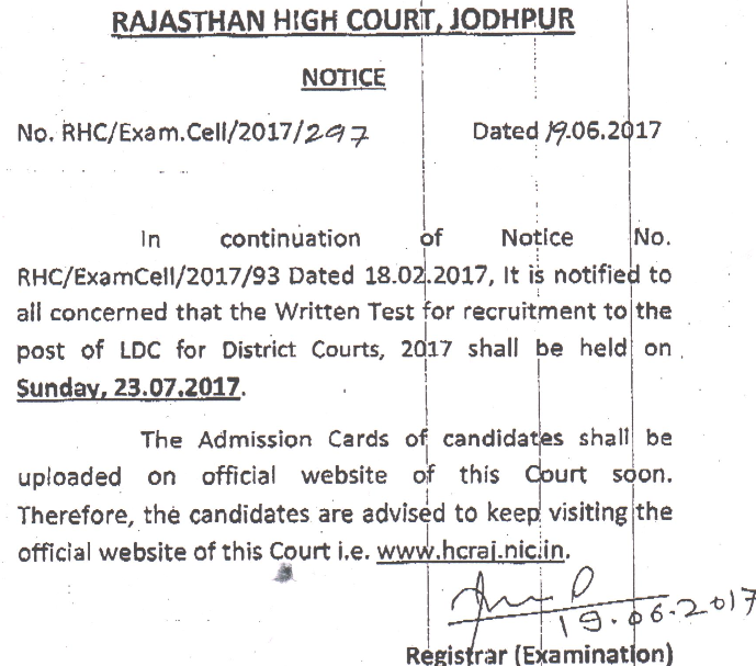 Rajasthan High Court LDC Admit Card 2017 Clerk Exam Date hcraj.nic.in