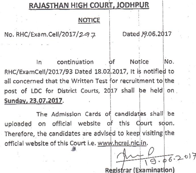 Rajasthan High Court LDC Admit Card 2017 Clerk Exam Date hcraj.nic.in