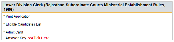 Rajasthan High Court LDC Answer Key