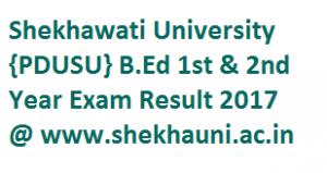 Shekhawati University B.Ed 1st & 2nd Year Exam Result 2017