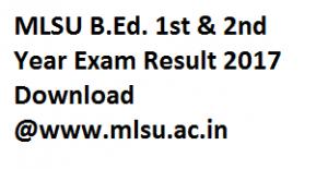 MLSU B.Ed Result 2017