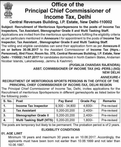 Income Tax Recruitment 2017