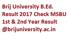 Brij University B.Ed Exam Result 2017